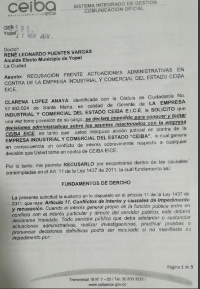 Recusado nuevo alcalde de Yopal por gerente de la EICE Ceiba