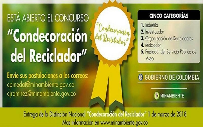 Participa en el concurso 'Condecoración del reciclador'.