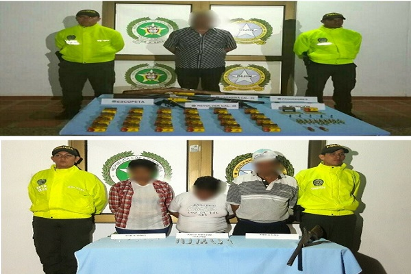 Cuatro personas capturadas en Paz de Ariporo por los delitos de porte ilegal de armas de fuego y porte de estupefacientes.
