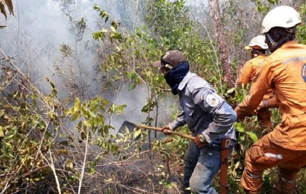 Continúan las acciones para controlar incendio forestal en La Macarena.