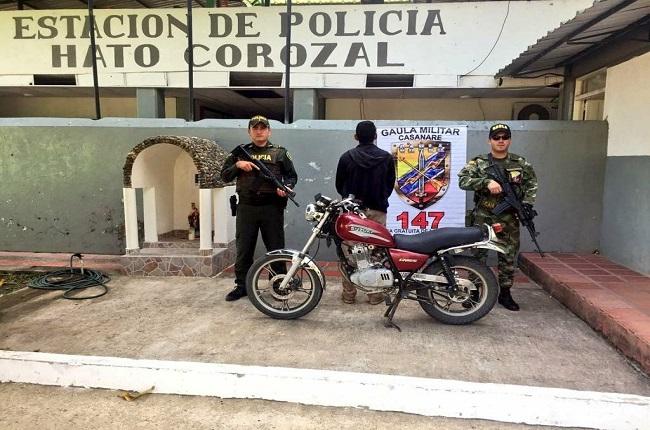 La fuerza pública logró recuperar en Hato Corozal, motocicleta hurtada en Arauca.