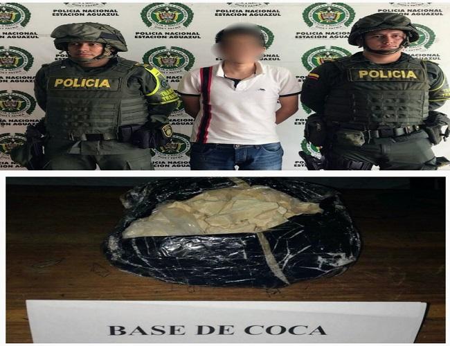 Capturado transportando un kilo de base de coca entre verduras en bus intermunicipal.