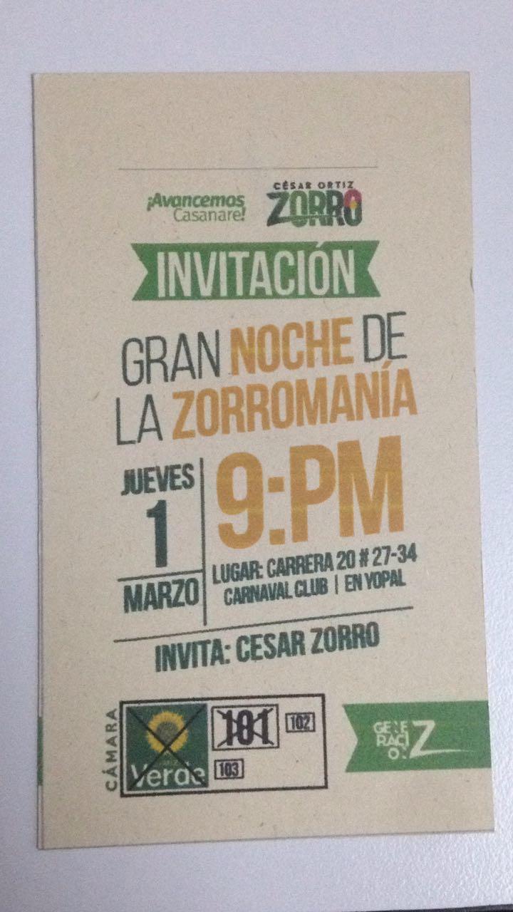"""#EnAudio """"Hoy Gran Noche de la Zorromanía, a partir de las 9:00 p.m.  Cra. 20 #27 – 34, Carnaval Club: invita Cesar Zorro, candidato a la Cámara Representantes partido verde #101"""
