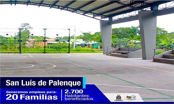 En el barrio Guasimal de San Luis de Palenque estrenan cancha multifuncional.