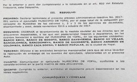 Empresa de acueducto levanta embargo a la alcaldía de Yopal por concepto de subsidios.