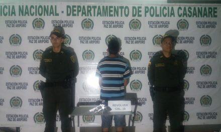 Una persona fue capturada por porte ilegal de armas en el kilómetro 19 de Paz de Ariporo vía Labrancitas