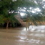 Por fuertes lluvias durante el fin de semana varios ríos se desbordaron.