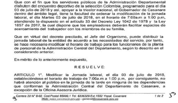 Gobernación de Casanare atenderá hoy hasta la 01:00 pm por partido de la Selección Colombia.